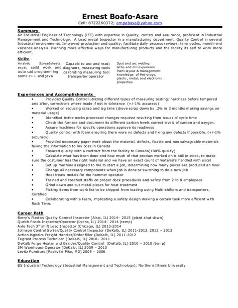 Sle Engineering Resumes by Sle Industrial Engineer Resume 28 Images Manufacturing Engineer Resume Sle 28 Images