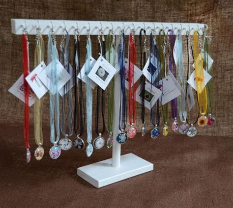 Handmade Jewelry Display Ideas - necklace jewelry display with hooks in white handmade