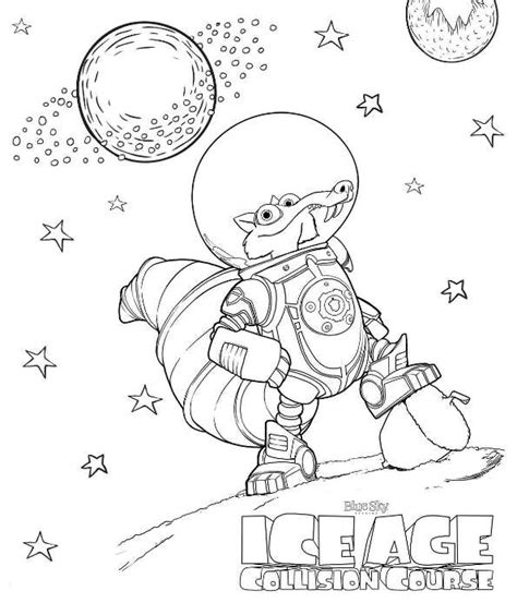 ice age coloring pages pdf coloring page ice age collision course scrat in space