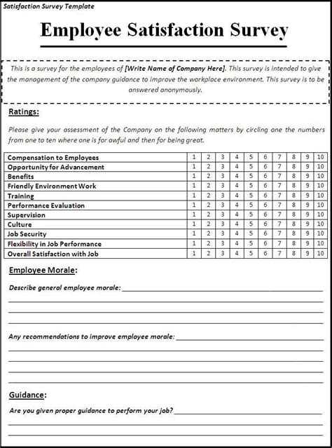 sle employee satisfaction survey templates satisfaction survey template my likes