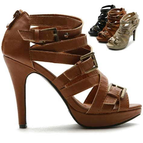 high heel sandals ollio womens pumps platforms gladiator ankle straps high