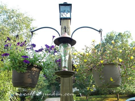 freestanding bird feeder hanging flower plant basket post