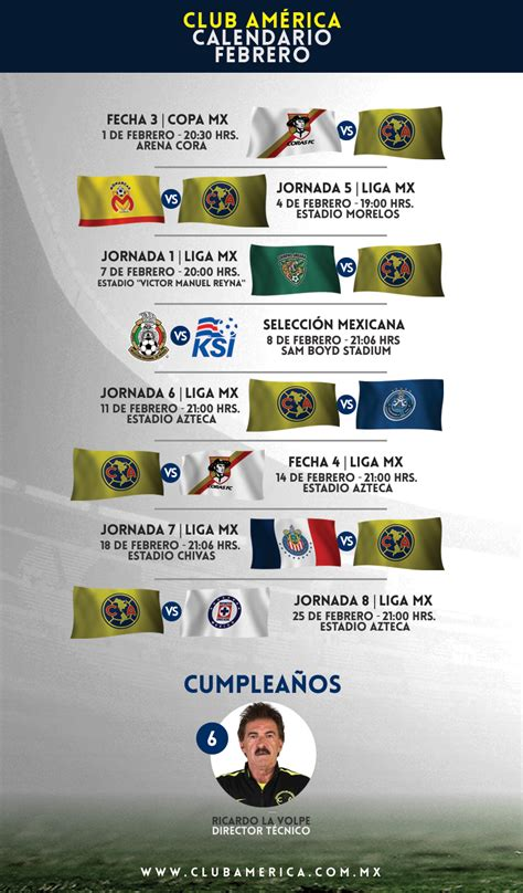 Calendario Liga Mx Club America Calendario Azulcrema Febrero 2017 Club Am 233 Rica Sitio