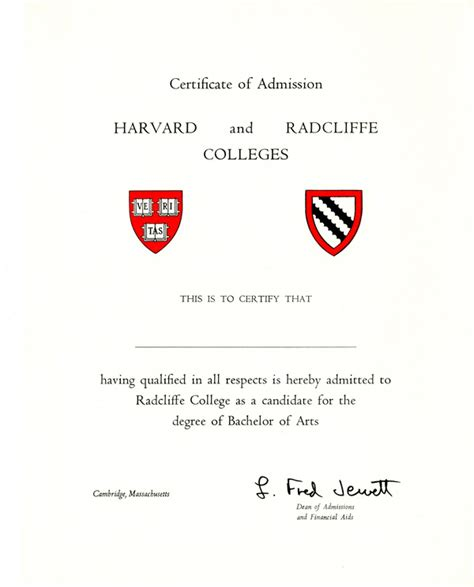 Home Design Certificate Programs certificate of admission to harvard and radcliffe colleges