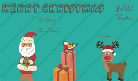 christmas gift certificate template  gift templates