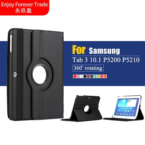 Samsung Tab 3 10 Inch For Samsung Galaxy Tab 3 10 1 Inch P5200 P5220 P5210 Tablet Pu Leather Cover 360 Rotating
