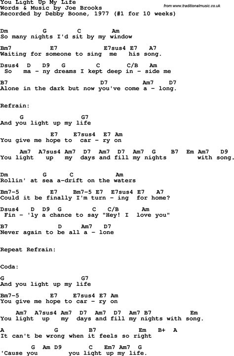 song lyrics with guitar chords for you light up