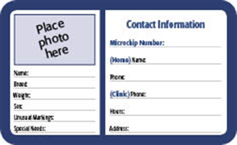 Pet Id Cards Template free pet id cards