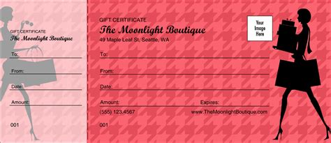 Red Shopping Gift Certificate Shopping Certificate Template