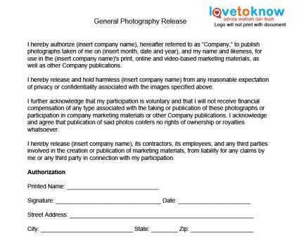 Photography Release Forms Lovetoknow Photo Release Template