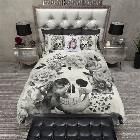 skull bed black and cream watercolor skull bedding cream ink and rags
