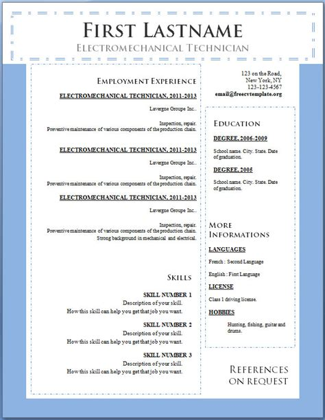 Free Downloadable Resume Templates For Word 2010 by Free Cv Template 100 To 106 Free Cv Template Dot Org