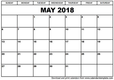 may 2018 calendar with holidays calendar printable free