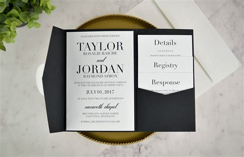 diy pocket wedding invitations real diy wedding invitation classic black white pocket
