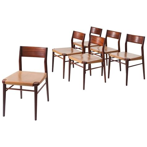 Italian Dining Room Chairs Set Of Six Italian Dining Chairs In Mahogany And Leather At 1stdibs