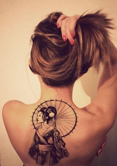 geisha tattoo designs 2014 back tattoo design for women geisha with umbrella tattoomagz