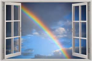 Rainbow Wall Stickers Uk huge 3d window view rainbow clouds wall sticker film mural