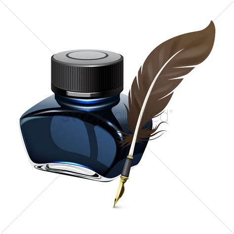 And Ink ink bottle and quill pen vector image 1517937