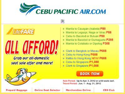 Cebu Pacific Domestic Seat Sale cebu pacific promo fares 2018 to 2019 cebu pacific