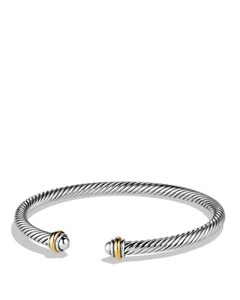 David yurman Cable Classics Bracelet With Gold in Metallic   Lyst