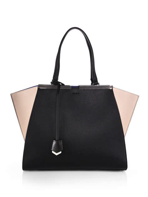 Fendi 3jours fendi 3jours two toned shopper bag in black lyst