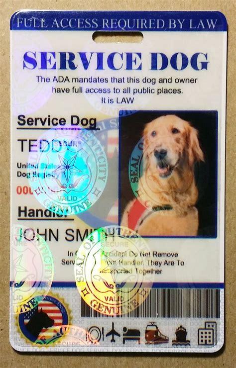 Service Dog Card Template Goldenacresdogs Com Emotional Support Animal Id Card Template