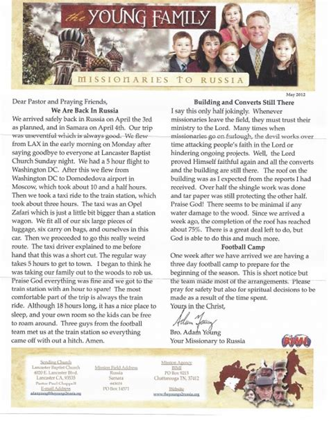 Closing Letter Blessings Calvary Baptist Church Temecula Ca 187 Archive 187 Family Prayer Letter