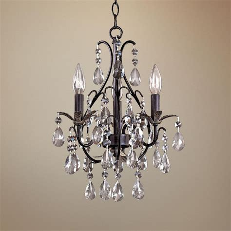 Chandelier Bathroom Lighting Castlewood Walnut Silver Finish 3 Light Mini Chandelier
