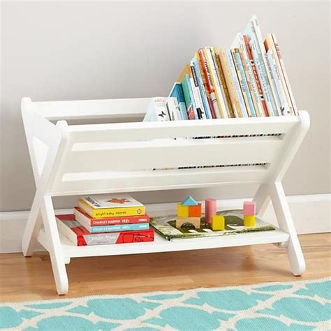 read book caddy white land of nod book and book bins