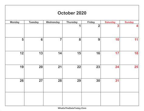 printable monthly calendar without weekends october 2020 calendar with weekend highlight
