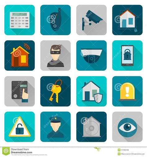home security icons flat stock vector image 47463160