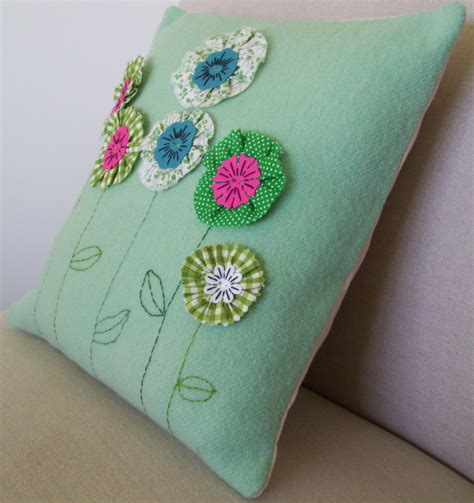 Handmade Cushions - wool cushion cover with fabric and felt handmade flowers
