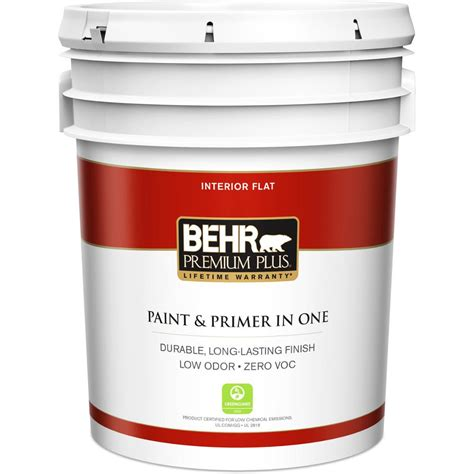 behr premium plus 5 gal ultra white flat zero voc interior paint and primer in one 105005