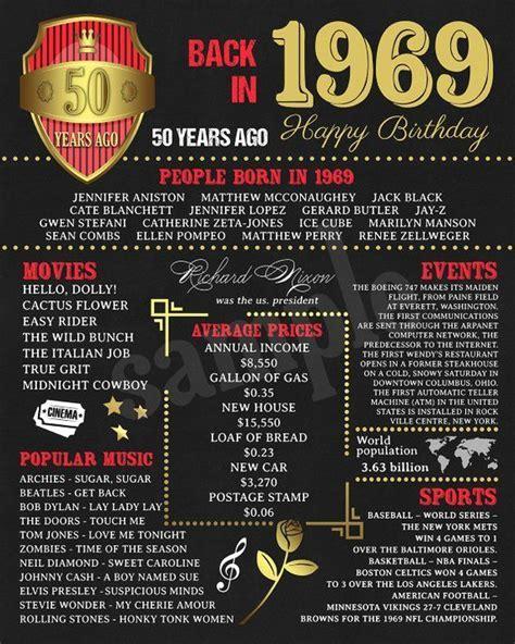 50th Birthday, 1969 Birthday Gift, Back in 1969, 50th