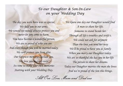Beautiful poem for your Daughter and Son in law on their