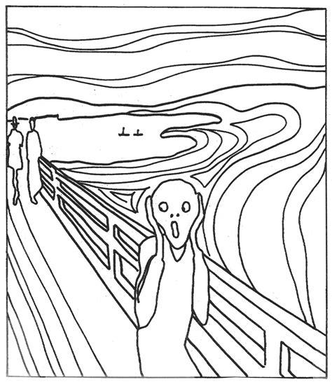 Scream Painting Van Gogh Coloring Sketch Page sketch template