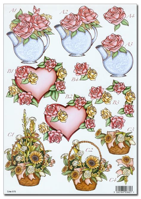 decoupage 3d pictures flower floral decoupage pyramage card