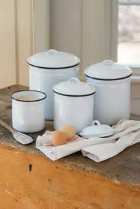 Decorative Kitchen Canister Sets white enamelware canister set eclectic kitchen