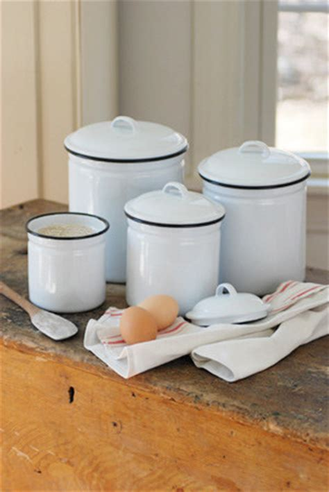 white canister sets kitchen white enamelware canister set eclectic kitchen