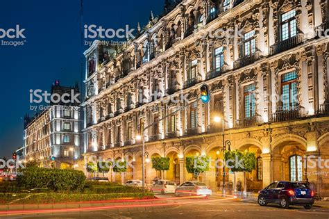 zocalo night ornate architecture at zocalo in downtown mexico city at