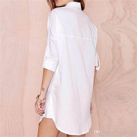 V Neck Basic Blouse White Neumor 2019 womens v neck shirts white blouse wear