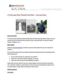 Thank You Letter Lesson Plan a veterans day thank you note 7th 12th grade lesson plan