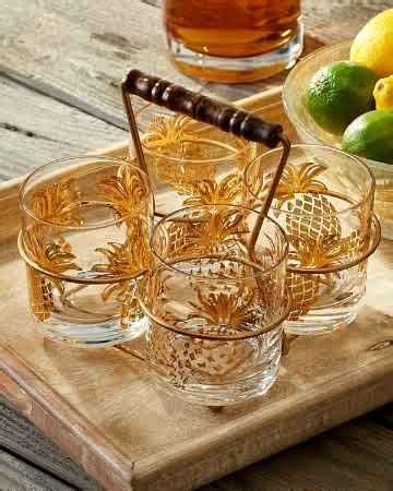 tommy bahama barware tommy bahama pineapple glasses and caddy set pineapple