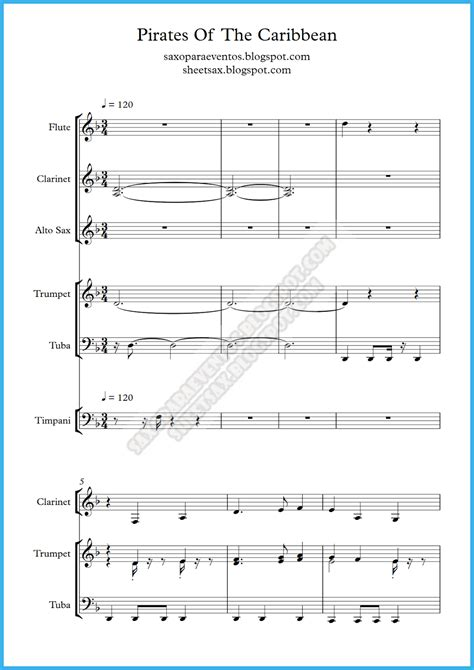 Pirates of the Caribbean music score and playalong for