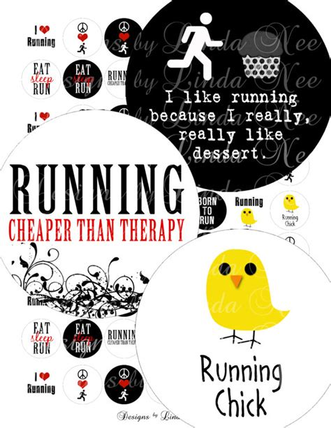printable running quotes instant download running quotes 1 inch rounds images