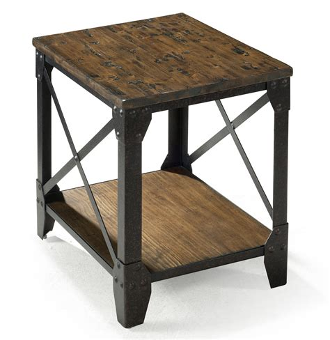 Rustic Accent Table Magnussen Home Pinebrook Small Rectangular End Table With Rustic Iron Legs Reeds Furniture