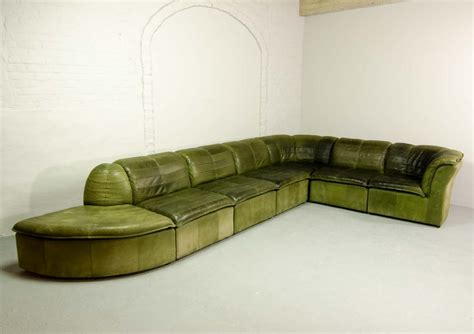 Olive Green Sectional Sofa 7 Elements Modular Patchwork Sofa By Laauser In Olive Green Nubuck Leather 65865