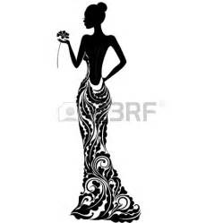 Bridesmaid dress silhouette clip art 19088154 girl in a dress with