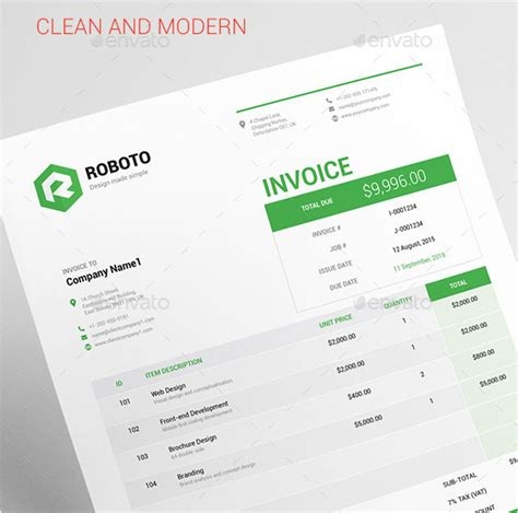 template psd professional invoice free resource for