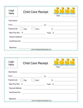 printable receipt for babysitting decorated with cute yellow ducks and a blue border this